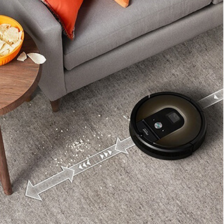Roomba using Dirt Detect to vigorously clean area