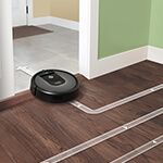 Roomba cleaning path for hardwood floor and bathroom