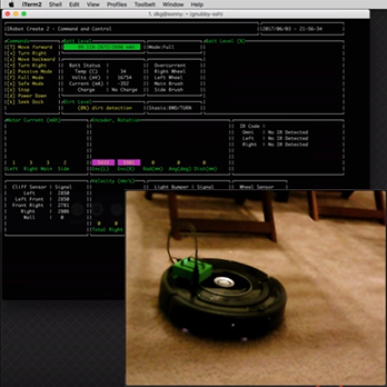Dashboard interface project for the iRobot Create 2