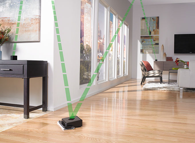Braava 300 scanning with Navigation Cubes around tile and hardwood floor rooms