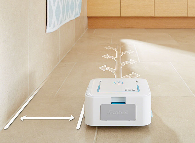 Efficient cleaning pattern enables Braava jet ™ gto mop and sweep small spaces, such as kitchens and bathrooms