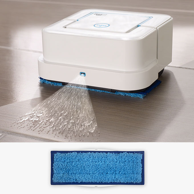 Washable Wet Mopping Cleaning Pad uses a triple-pass cleaning pattern and Vibrating Cleaning Head to tackle dirt and stains